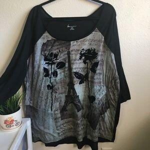 3/$15 Lane Bryant Parisian floral 3/4 sleeve shirt